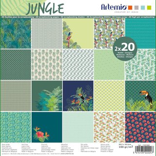 Scrapbooking paper JUNGLE 30,5 x 30,5 cm, 40 pcs, 2 x 20...