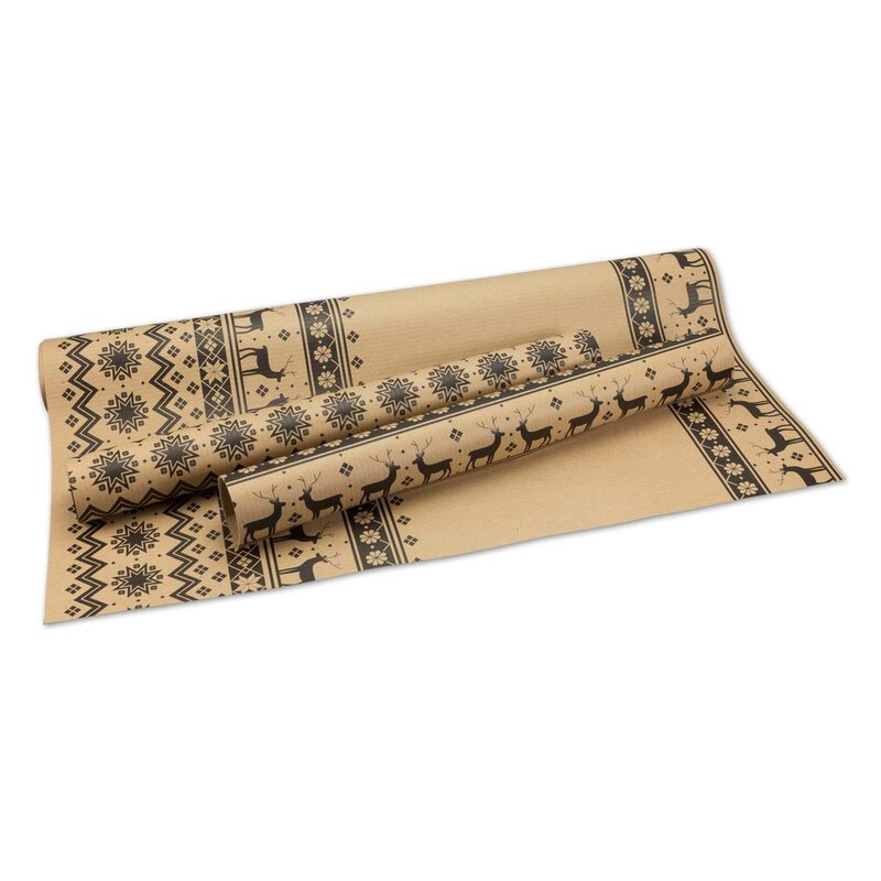 10 x Wrapping Paper Norway, ribbed, brown, 50 x 70, Kraft paper