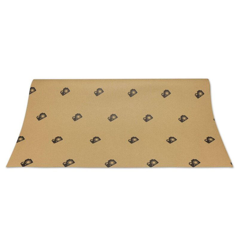 10 x Wrapping Paper camera, ribbed, brown, 50 x 70, Kraft paper
