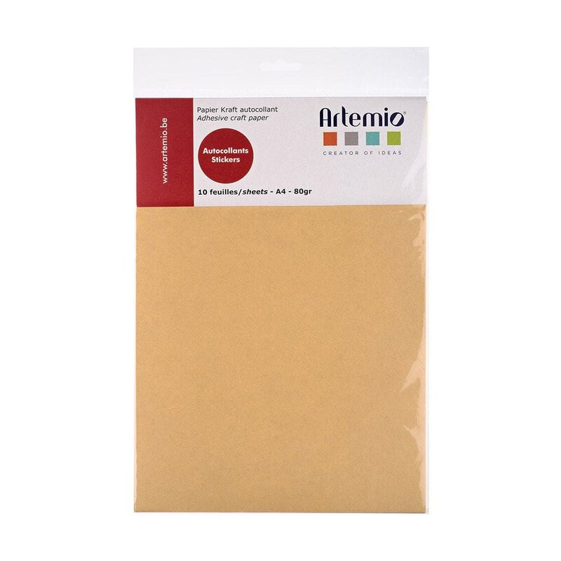 Self-adhesive kraft paper A4, 80 g/m², smooth, ochre