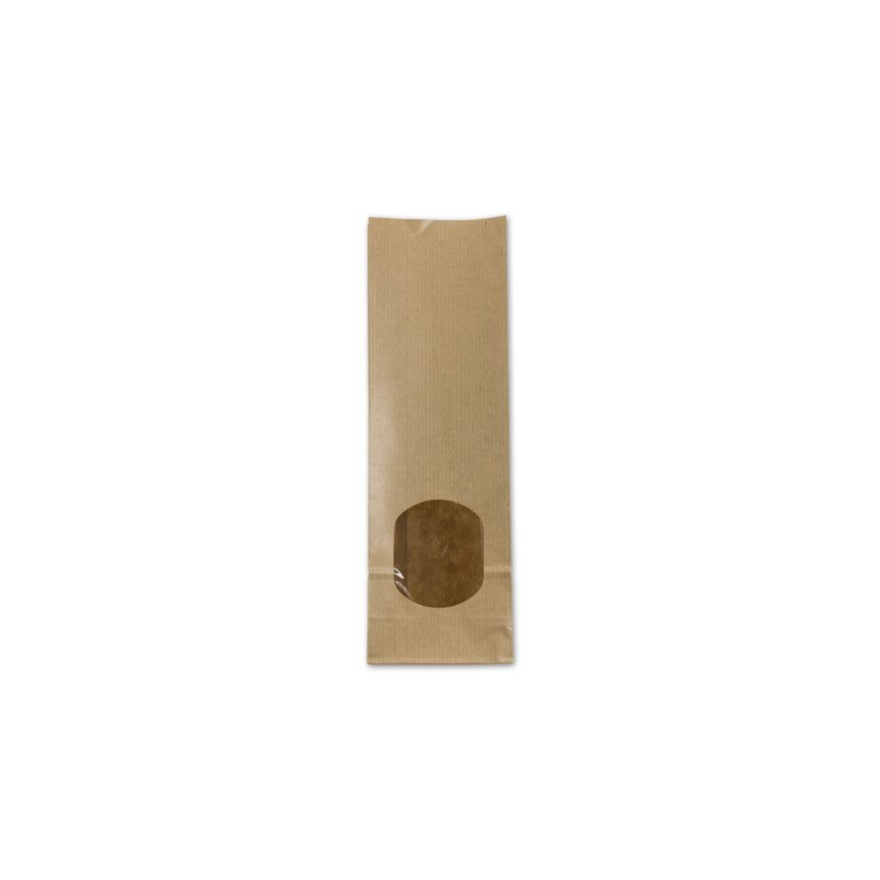 Block bottom bag 80 x 245 mm, window, brown, kraft paper, ribbed