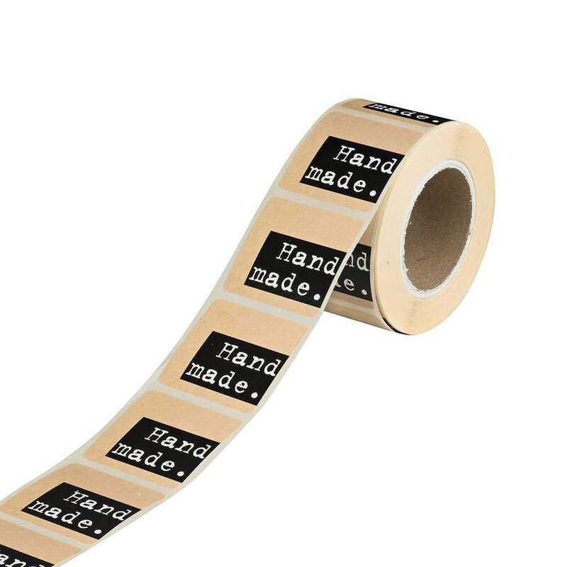 Dispenser with 500 sticker »Handmade«, square 35 x 35 mm, kraft paper self-adhesive