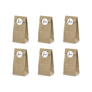6 Cookie and candy bags with sticker LOVE, kraft paper