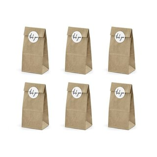 6 Cookie and candy bags with sticker THANK YOU, kraft paper