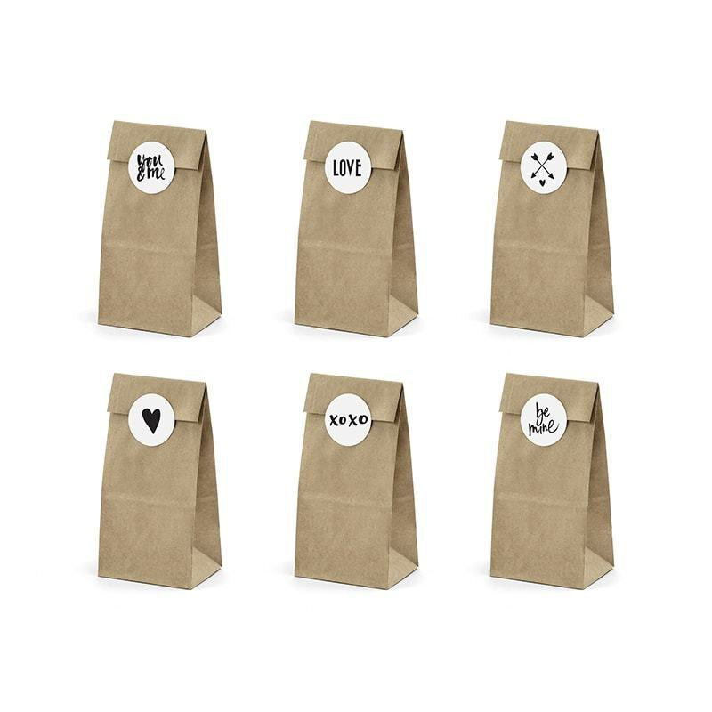 6 Cookie and candy bags, sticker with 6 diff. motifs, kraft paper