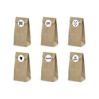 6 Cookie and candy bags, sticker with 6 diff. motifs,...