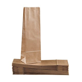 Block bottom bag 80 x 250 mm, brown, ribbed kraft paper