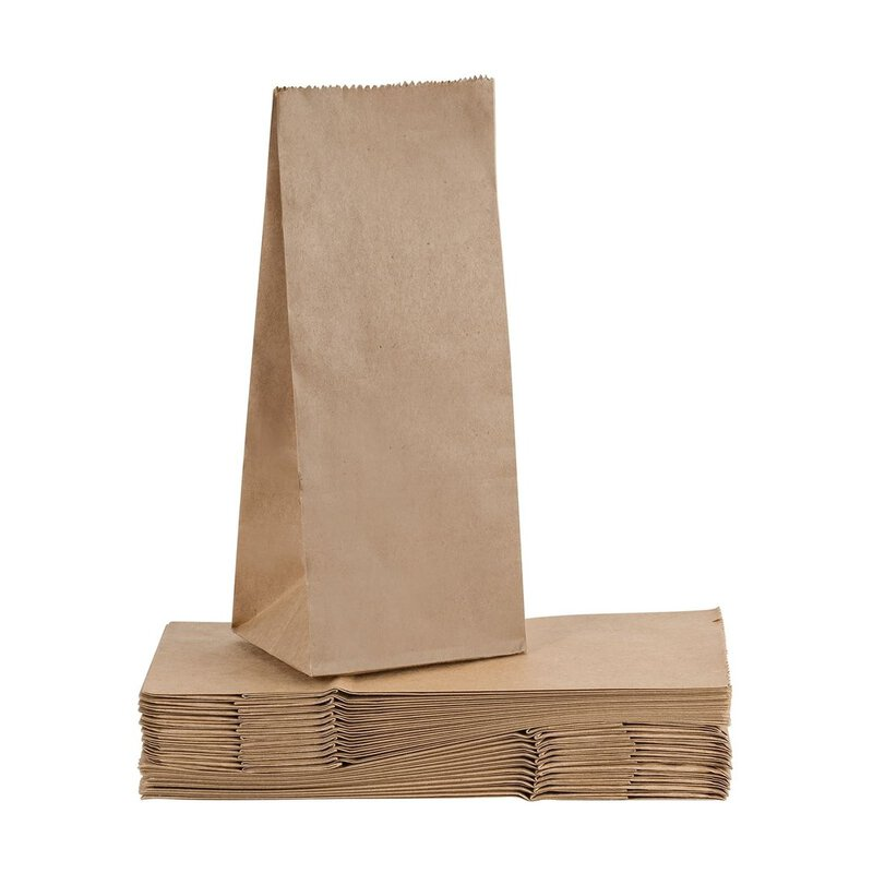 Paper bag 100 x 280 mm, brown, smooth, single-ply, kraft paper, without window