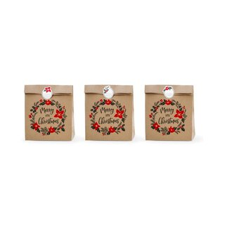 Gift bag MERRY XMAS brown with sticker, 6 pcs., kraft paper
