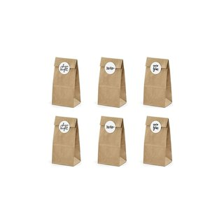 6 Cookie and candy bags with sticker, kraft paper