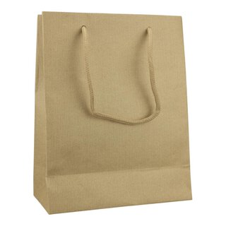 Paper bag, 42 x 37 x 13 cm, brown, ribbed, cotton cord