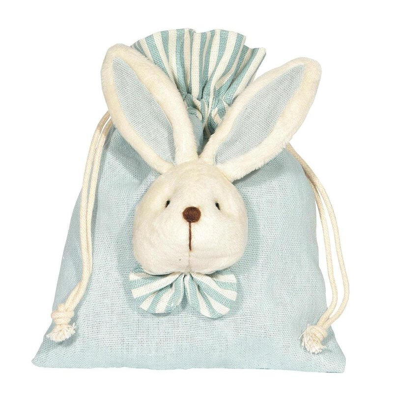 Cotton bag with rabbit, light blue 18 x 14 cm
