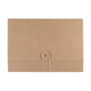 Folder, A5, string and button, kraft cardboard 283 g/m²