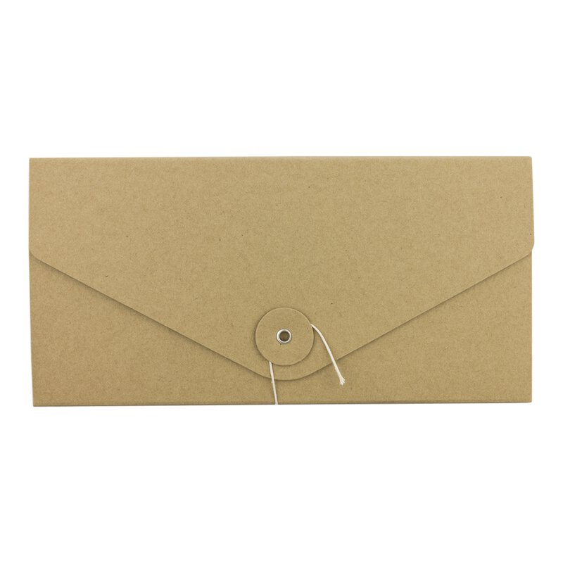 Folder, DL, string and button, kraft cardboard 283 g/m²