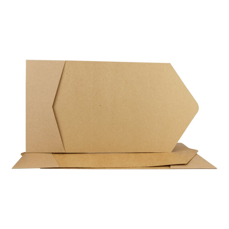 Pocketfold card C6, 114 x 162 mm, with pocket, slots and flap, kraft cardboard, unprinted - 10 pcs/pack