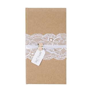 Cover money gift wedding, kraft paper, lace, vintage
