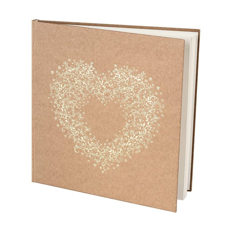 Wedding Guestbook, Heart, 40 pages, Kraft cardboard, Gold ornament