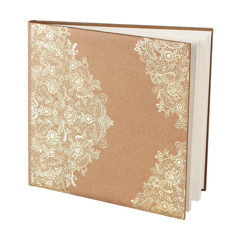 Wedding Guestbook, Lace, 40 pages, Kraft cardboard, gold embossing