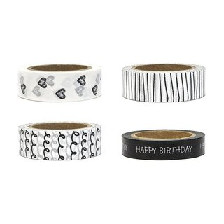 Washi tape 4 x 10 m, Happy birthday black-white