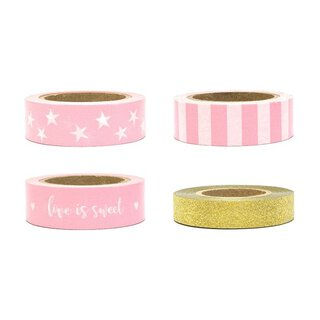 Washi tape 4 x 10 m, Love is sweet, Pink and Gold