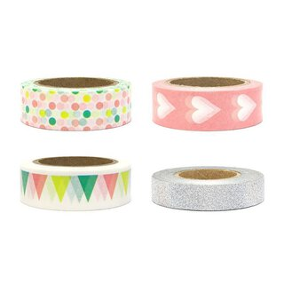 Washi tape 4 x 10 m, Heart, Silver, Pastel