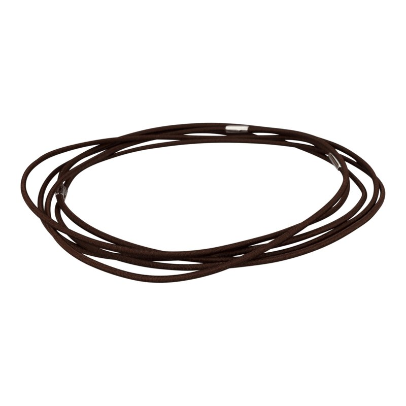 Rubber cord, brown, 350 mm, closed ring, textile braided