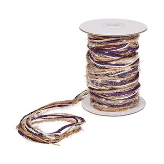Jute yarn, multicolor, violet, natural 15 m
