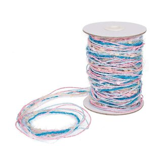 Jute yarn, multicolor, turquoise, pink, natural 15 m