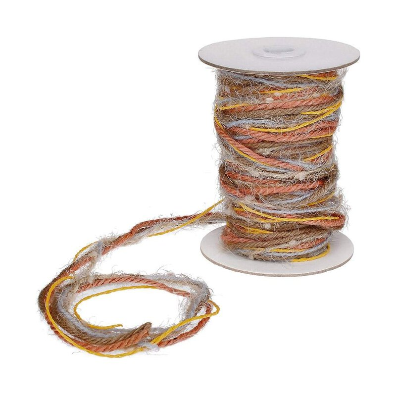 Jute- u. Wollgarn Multicolor, Orange, Gelb, Natur 15 m