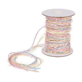Jute yarn, multicolor, yellow, pink, pastell 15 m