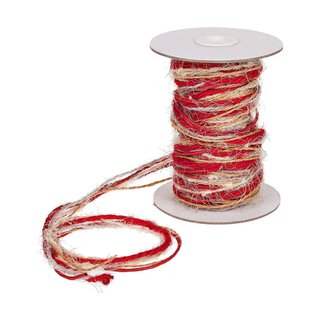 Jute and wool twine multicolor, red, nature, 15 m