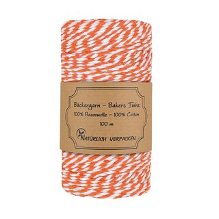 Bakers twine, orange-white, 100 m roll, 2mm