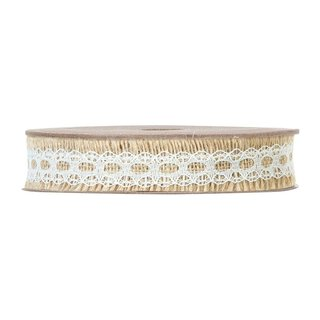Decoration ribbon with lace, natural and white,...