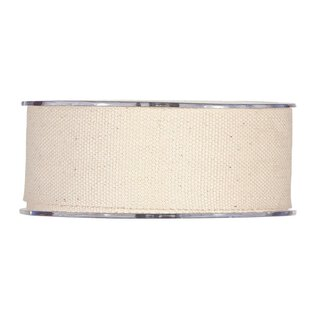 Cotton ribbon natural, 40 mm, 10 meters for handicrafts...