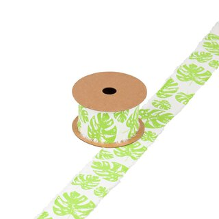Ribbon with monstera off-white and pale green, 4 cm,...