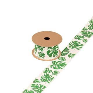 Ribbon with monstera linen and green, 4 cm, cotton,...