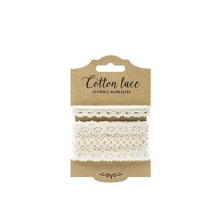 Set of 2 lace, cream, 1 cm and 4.5 cm, 2 x 1.5 m, cotton