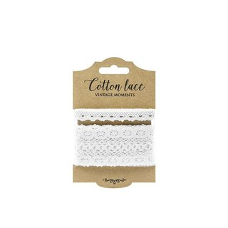 Set of 2 lace, white, 1 cm and 4.5 cm, 2 x 1.5 m, cotton