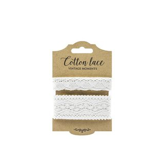 Set of 2 lace, white, 2 cm and 3.5 cm, 2 x 1.5 m, cotton