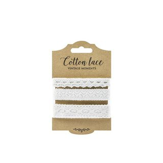 Set of 3 lace, white, 1 cm, 1,5 cm and 2 cm, cotton