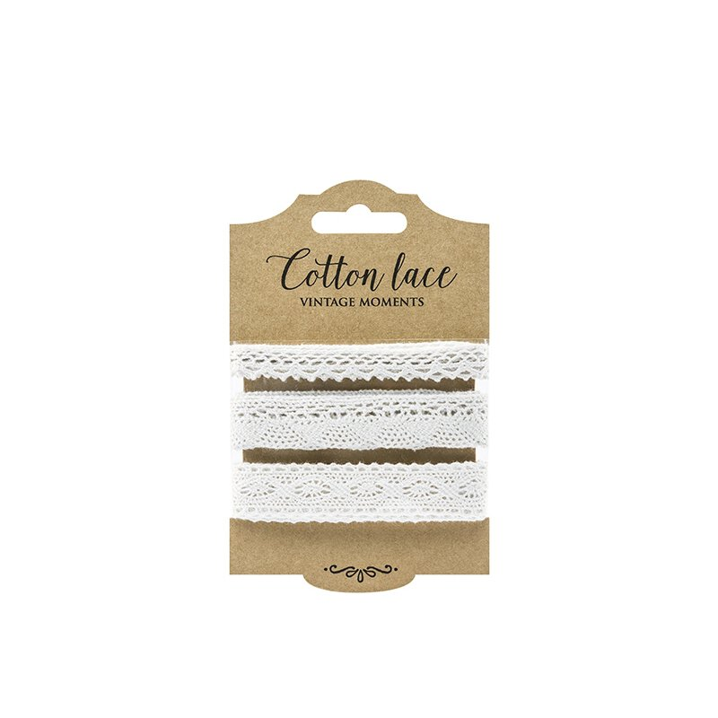 Set of 3 lace, white, 1 x 1 cm and 2 x 2 cm, 3 x 1.5 m, cotton