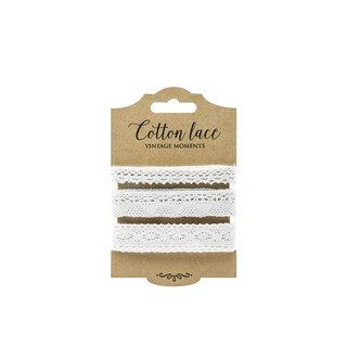 Set of 3 lace, white, 1 x 1 cm and 2 x 2 cm, 3 x 1.5 m,...